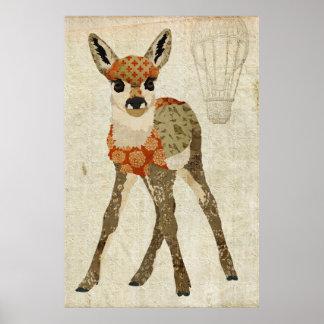 レトロのこはく色の花の子鹿の芸術ポスター ポスター