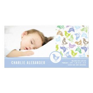 レトロのひよこの男の子の誕生の発表の写真カード カード