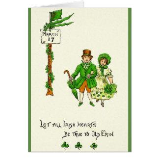 レトロのアイルランドのハートは本当のセントパトリックの日カードです カード
