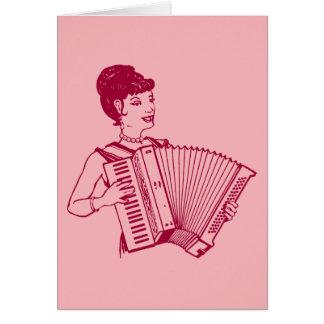 レトロのアコーディオンの女性 カード