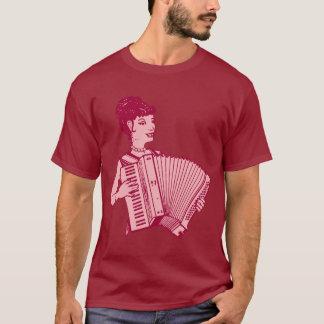 レトロのアコーディオンの女性 Tシャツ
