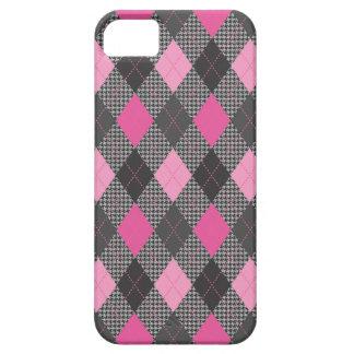 レトロのアーガイル柄ので粋なピンクのヘリンボン点検 iPhone SE/5/5s ケース