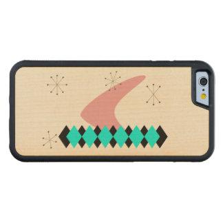 レトロのアーガイル柄のな世紀半ばのモダン CarvedメープルiPhone 6バンパーケース