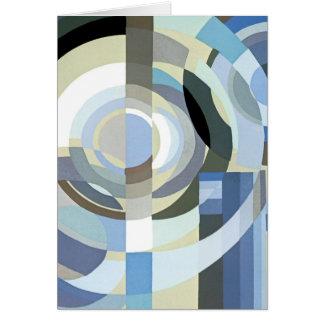 レトロのアールデコジャズヴィンテージの青い円パターン カード