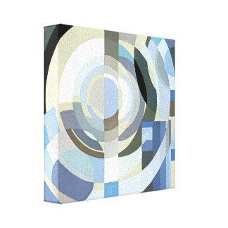 レトロのアールデコジャズヴィンテージの青い円パターン キャンバスプリント