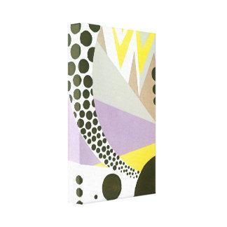 レトロのアールデコジャズ水玉模様のジグザグパターン キャンバスプリント