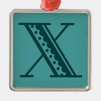 レトロのアール・デコのメキシコスタイルの手紙のモノグラムX メタルオーナメント