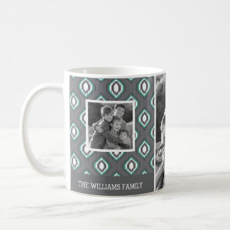 レトロのイカット種族パターン|家族写真及び文字 コーヒーマグカップ