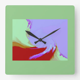 レトロのイメージ7の薄紫及び緑の正方形の柱時計 スクエア壁時計