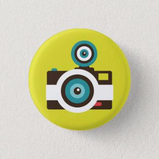 レトロのインスタントカメラ(白/ブラウン)しゃれているなボタン 缶バッジ