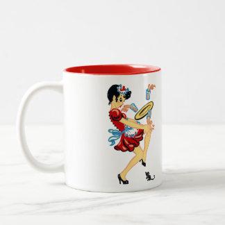 レトロのウェートレス ツートーンマグカップ