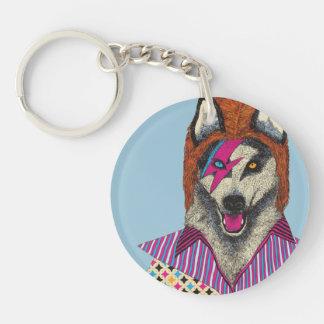 レトロのオオカミの円(独身の味方される) Keychain キーホルダー