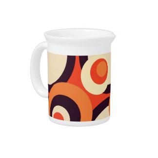 レトロのオレンジおよびブラウンの五十年代の抽象美術 ピッチャー