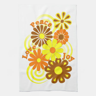レトロのオレンジ黄色の花の平和愛及び喜びタオル キッチンタオル
