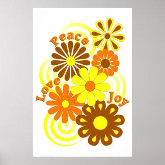 レトロのオレンジ黄色の花の平和愛及び喜びポスター ポスター