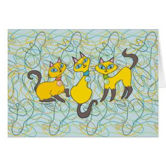 レトロのオーガニックな形の3匹のシャム猫 カード