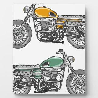 レトロのオートバイのベクトルスケッチ フォトプラーク