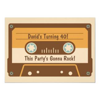 レトロのカセットテープのパーティの招待状 カード
