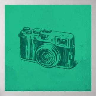 レトロのカメラの絵 ポスター