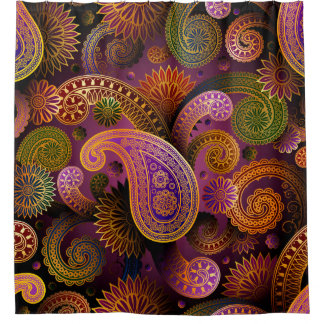 レトロのカラフルで美しいBohoのボヘミア人のペイズリー シャワーカーテン