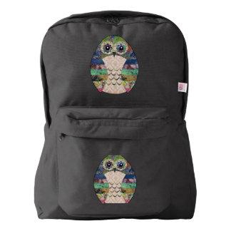 レトロのカラフルなフクロウのBohoのボヘミアの鳥のカスタム American Apparel™バックパック