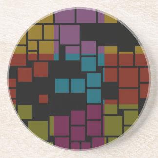 レトロのカラフルのステンドグラスの抽象美術 コースター