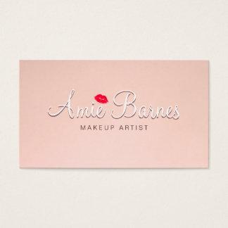 レトロのキスをするな唇のメーキャップアーティストのピンクのヴィンテージ 名刺
