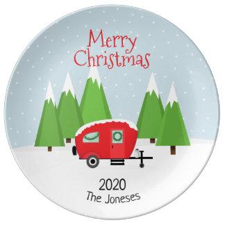 レトロのキャンピングカーのクリスマス 磁器プレート
