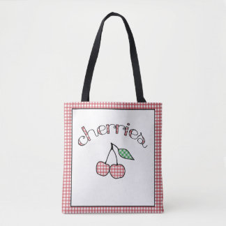 レトロのギンガムのさくらんぼの再使用可能な買い物袋 トートバッグ