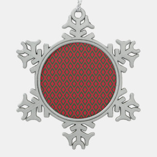 レトロのクリスマスのダイヤモンドパターン スノーフレークピューターオーナメント