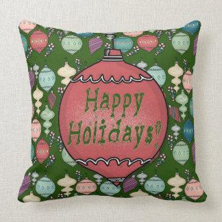 レトロのクリスマスのリロード-濃緑色のパステル クッション