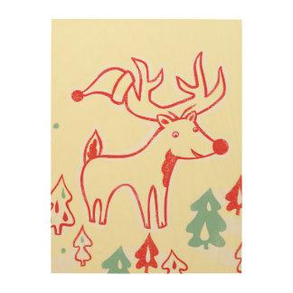 レトロのクリスマスの森林の帽子を持つ赤いトナカイ ウッドウォールアート