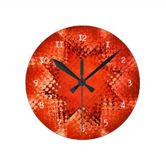 レトロのグランジなハーフトーンの星 ラウンド壁時計