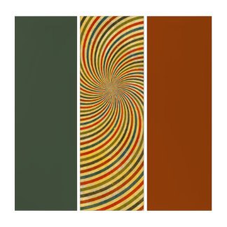 レトロのグランジな渦巻は縞で飾ります + あなたのアイディア トリプティカ