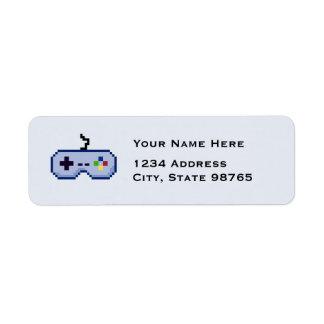 レトロのゲームのコントローラーのリターン青の宛名ラベル ラベル
