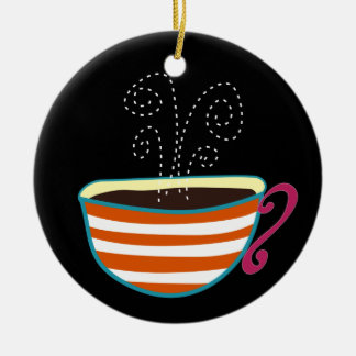 レトロのコーヒーカップの茶カスタム セラミックオーナメント