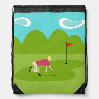 レトロのゴルファーのドローストリングのバックパック ナップサック