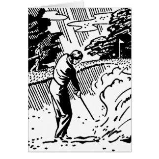 レトロのゴルファーの砂トラップのバースデー・カード カード