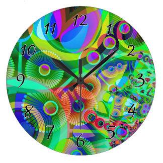 レトロのサイケデリックな抽象芸術 ラージ壁時計