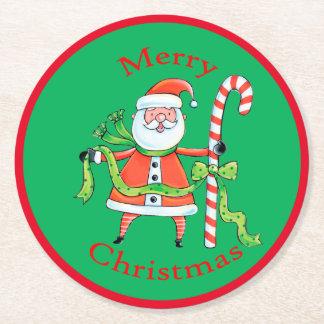 レトロのサンタクロースのキャンディ・ケーンのクリスマス ラウンドペーパーコースター