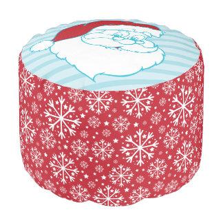 レトロのサンタクロースの赤い雪片のクリスマスパターン プーフ