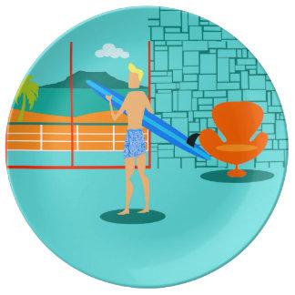 レトロのサーファーの男の磁器皿 磁器プレート