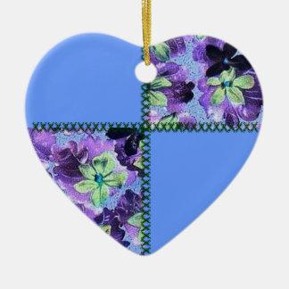レトロのスクラップのパッチワークのロビンの卵の青い花柄は聞きます セラミックオーナメント