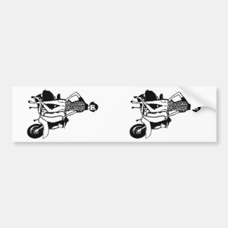 レトロのスクーターの女の子 バンパーステッカー