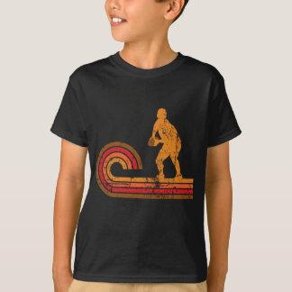 レトロのスタイルのスクラムの半分のシルエットのラグビー Tシャツ
