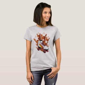 レトロのスタイルのローラースケートのティー Tシャツ