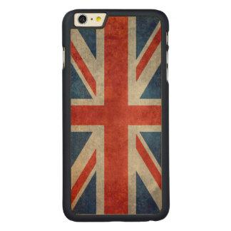 レトロのスタイルのヴィンテージの質感の英国国旗のイギリスの旗 CarvedメープルiPhone 6 PLUS スリムケース