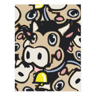 レトロのスタイルの安っぽいポップアートの酪農場Moo牛- ポストカード