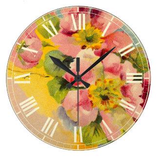 レトロのスタイルの花のヴィンテージの台所 ラージ壁時計