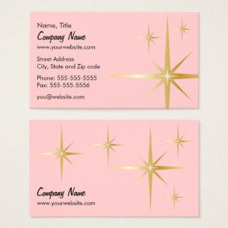 レトロのスターバストの名刺-ピンク 名刺